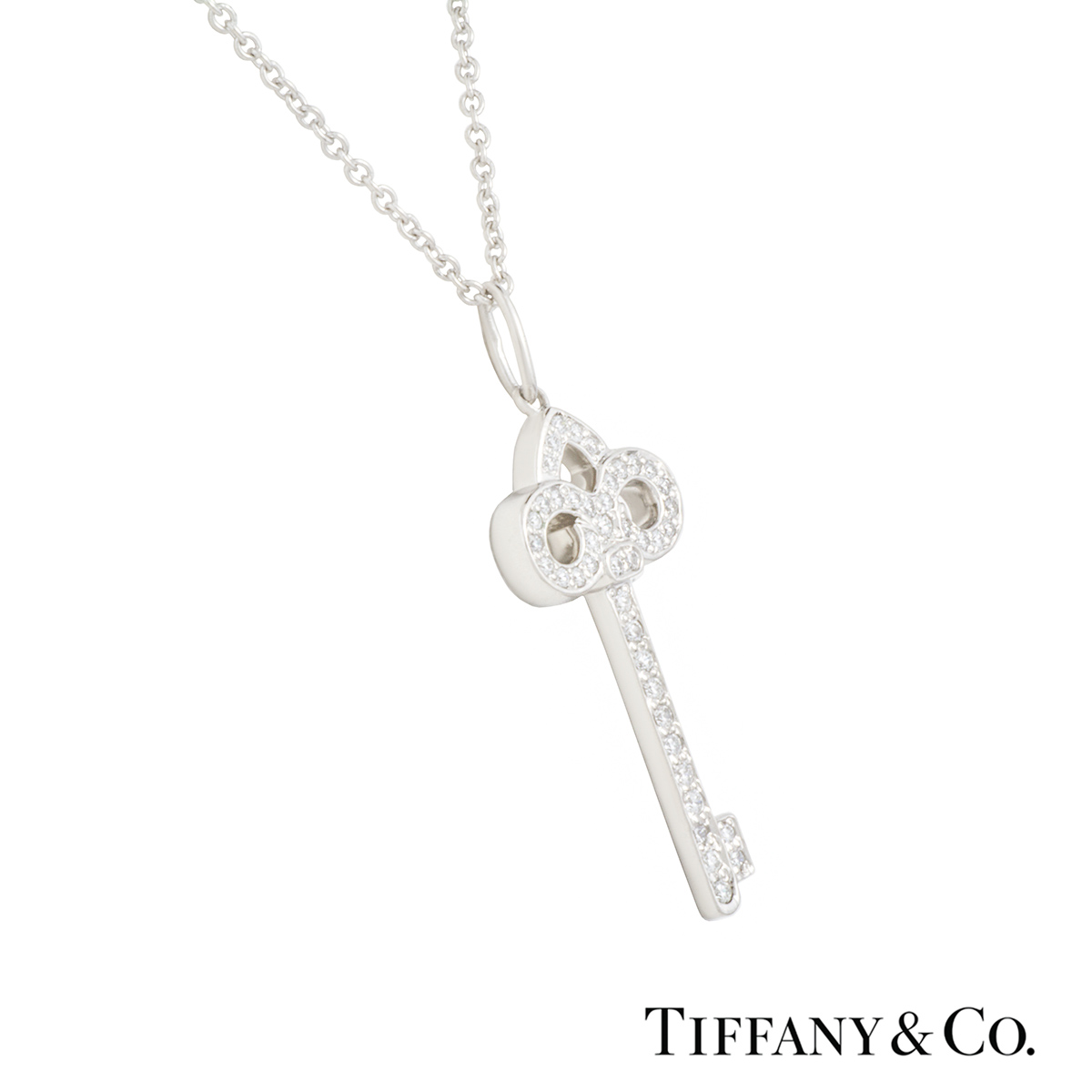 fd7bb9812 ... Tiffany & Co. Diamond Set Fleur De Lis Key Pendant in Platinum ...